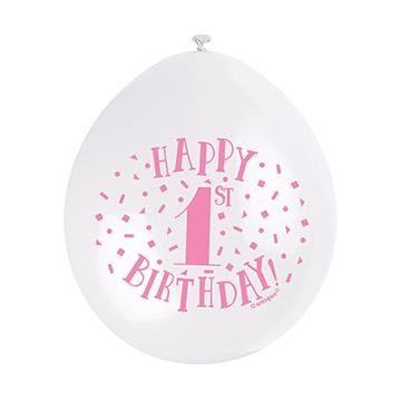 "9"" Pink Assortment Happy 1st Birthday Latex Balloons (Pack 10)"