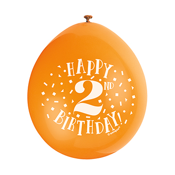 9″ Happy 2nd Birthday Assorted Colours Latex Balloons (Pack 10)