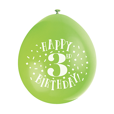 9″ Happy 3rd Birthday Assorted Colours Latex Balloons (Pack 10)