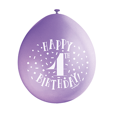 9″ Happy 4th Birthday Assorted Colours Latex Balloons (Pack 10)