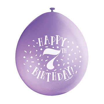 9″ Happy 7th Birthday Assorted Colours Latex Balloons (Pack 10)