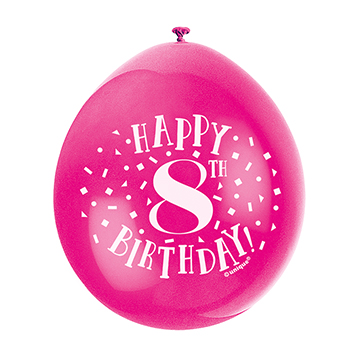 9″ Happy 8th Birthday Assorted Colours Latex Balloons (Pack 10)