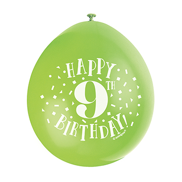 9″ Happy 9th Birthday Assorted Colours Latex Balloons (Pack 10)