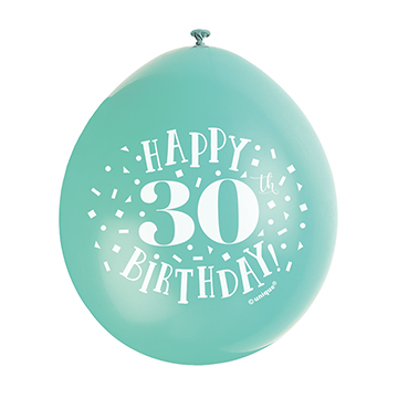 9″ Happy 30th Birthday Assorted Colours Latex Balloons (Pack 10)