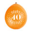 9″ Happy 40th Birthday Assorted Colours Latex Balloons