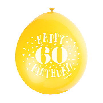 9″ Happy 60th Birthday Assorted Colours Latex Balloons (Pack 10)