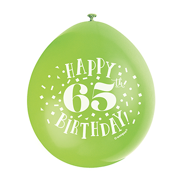 9″ Happy 65th Birthday Assorted Colours Latex Balloons (Pack 10)