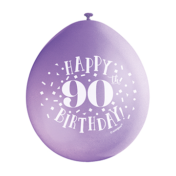 9″ Happy 90th Birthday Assorted Colours Latex Balloons (Pack 10)