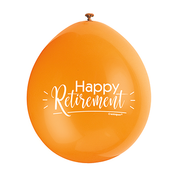 9″ Happy Retirement Assorted Colours Latex Balloons (Pack 10)