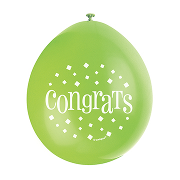 9″ Congrats Assorted Colours Latex Balloons (Pack 10)