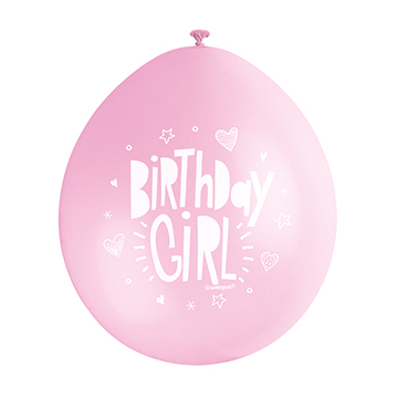 9″ Birthday Girl Pink Assorted Colours Latex Balloons (Pack 10)