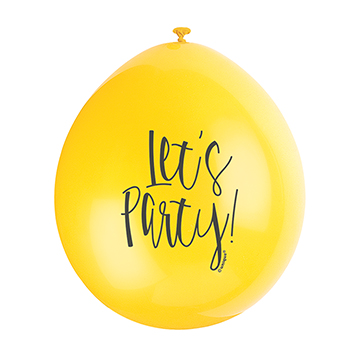 9″ Lets Party Assorted Colours Latex Balloons (Pack 10)