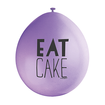 9″ Eat Cake Assorted Colours Latex Balloons (Pack 10)