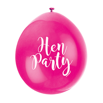 9″ Hen Party Assorted Colours Latex Balloons (Pack 10)