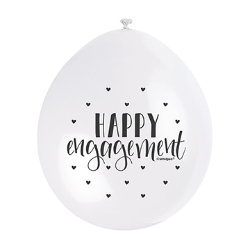 9″ Happy Engagement Assorted Colours Latex Balloons (Pack 10)