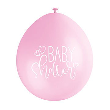 9″ Baby Shower Pink Assorted Colours Latex Balloons (Pack 10)