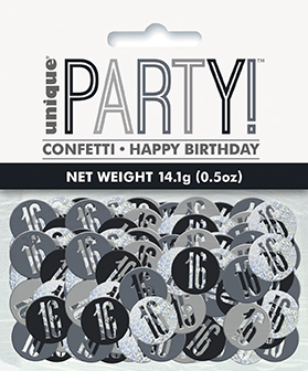 Birthday Black Glitz Number 16 Confetti 0.5oz