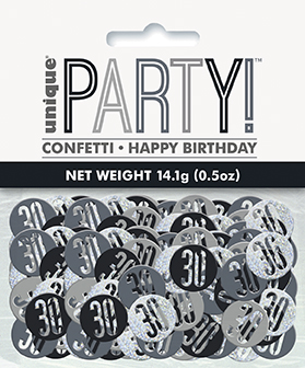 Birthday Black Glitz Number 30 Confetti 0.5oz
