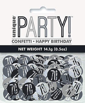 Birthday Black Glitz Number 70 Confetti 0.5oz