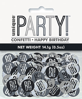 Birthday Black Glitz Number 80 Confetti 0.5oz