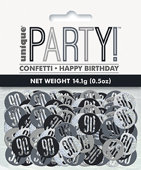 Birthday Black Glitz Number 90 Confetti 0.5oz
