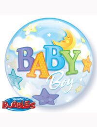 "22"" Bubble Baby Boy Moon and Stars"