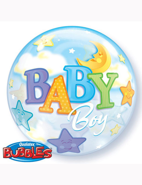 "22"" Bubble Baby Boy Moon and Stars"
