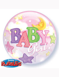 """22"""" Bubble Baby Girl Moon and Stars"""