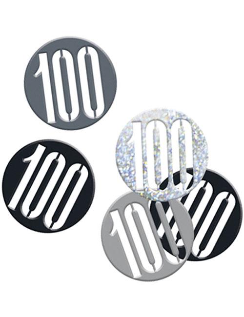 Birthday Black Glitz Number 100 Confetti 0.5oz