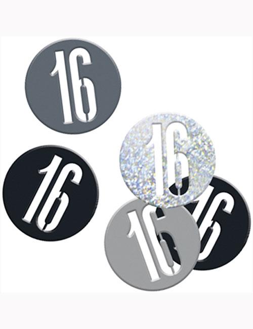 Birthday Black Glitz Number 16 Confetti 0.5oz