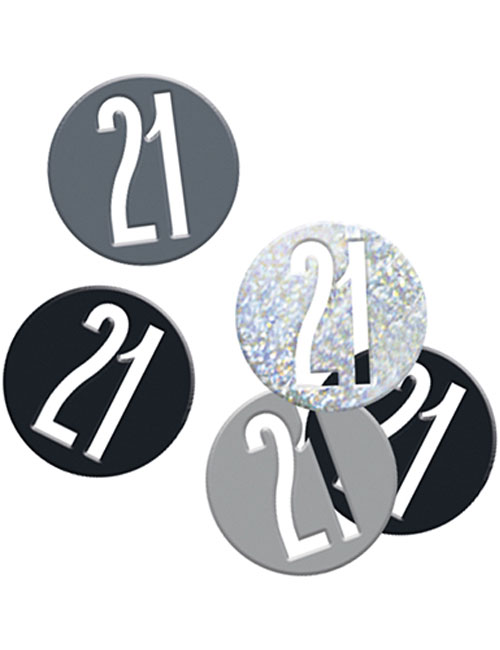 Birthday Black Glitz Number 21 Confetti 0.5oz