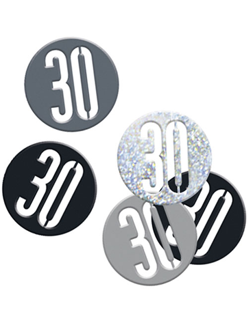 Birthday Black Glitz Number 30 Confetti 0.5oz