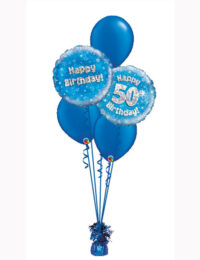 Blue Holographic Classic Aged Balloon Bouquet with Blue Latex. Various Ages Available.