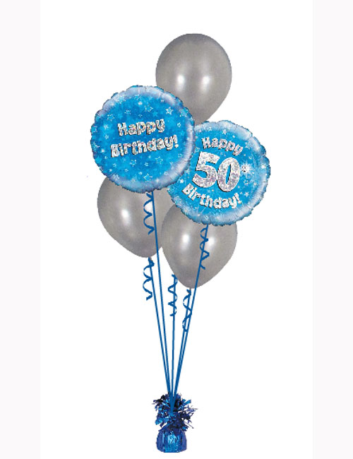 Blue Holographic Classic Aged Balloon Bouquet with Silver Latex. Various Ages Available.