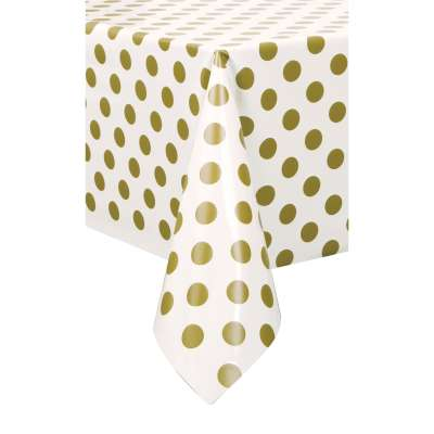 "Rectangular Plastic Table Cover 54""x 108"" Gold Dots"