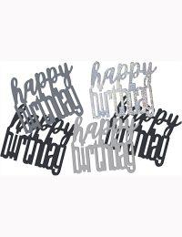 Birthday Black Glitz Happy Birthday Confetti 0.5oz