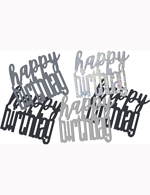 Birthday Black Glitz Happy Birthday Confetti 0.5oz