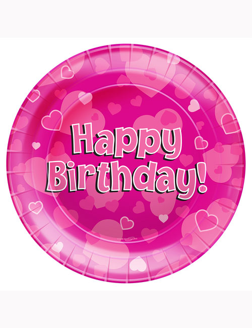 Happy Birthday Pink Party Plates 23cm (Pack of 8)