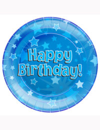 Happy Birthday Blue Party Plates 23cm (Pack of 8)
