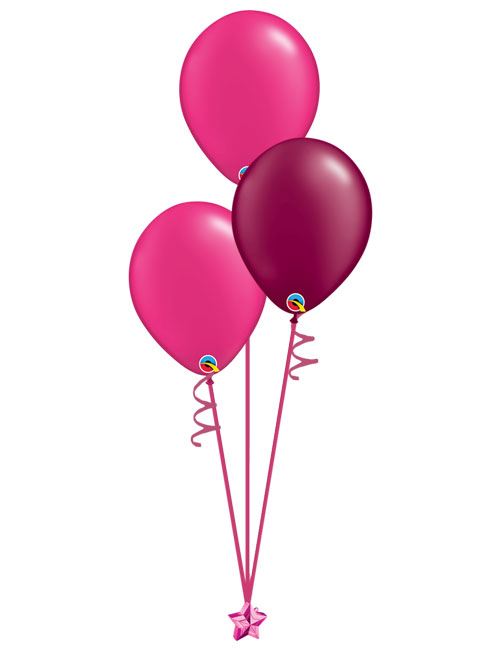 Set of 3 Latex Balloons Magenta and Burgundy