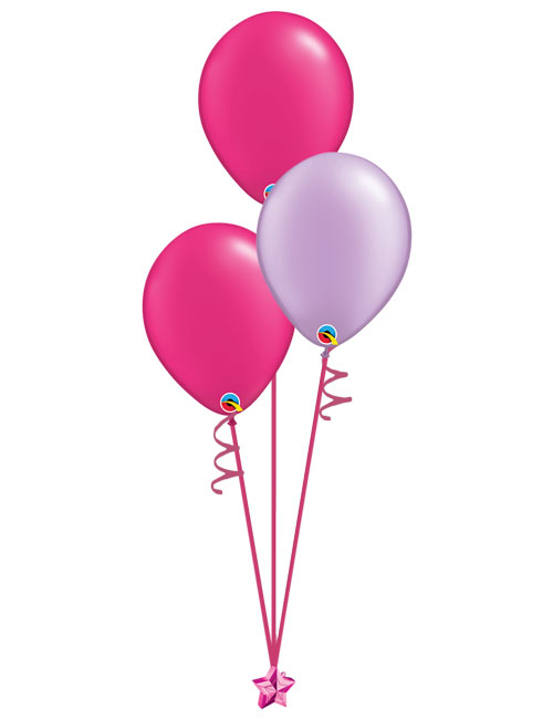 Set of 3 Latex Balloons Magenta and Lavender