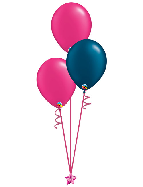 Set of 3 Latex Balloons Magenta and Midnight Blue
