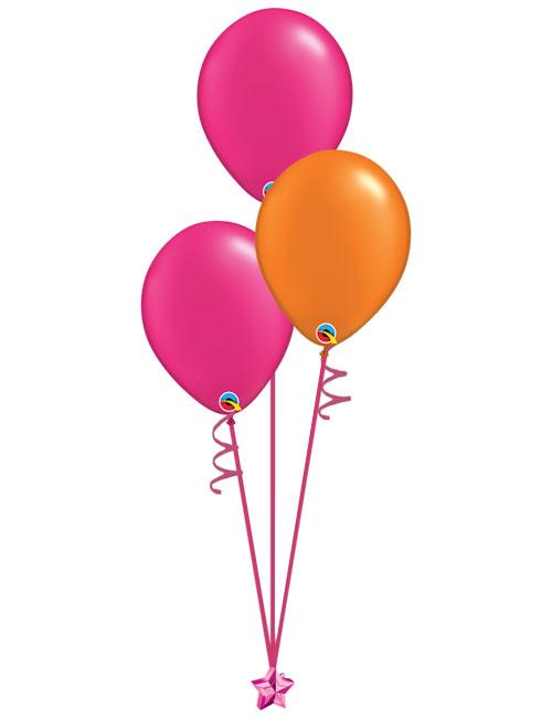 Set of 3 Latex Balloons Magenta and Orange