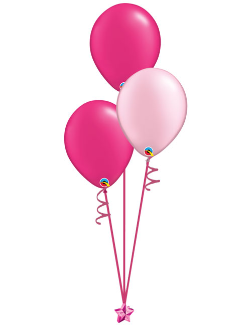 Set of 3 Latex Balloons Magenta and Light Pink