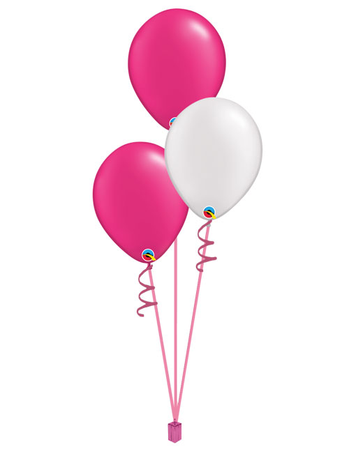 Set of 3 Latex Balloons Magenta and White