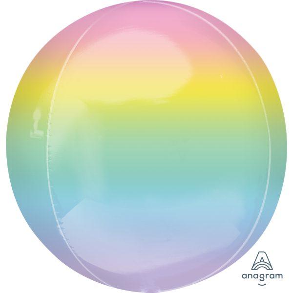 "Orbz Foil Balloon 15"" x 16"" Ombre Pastel Rainbow"