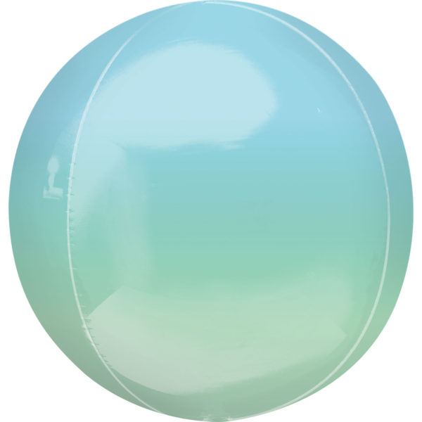 "Orbz Foil Balloon 15"" x 16"" Ombre Blue and Green"
