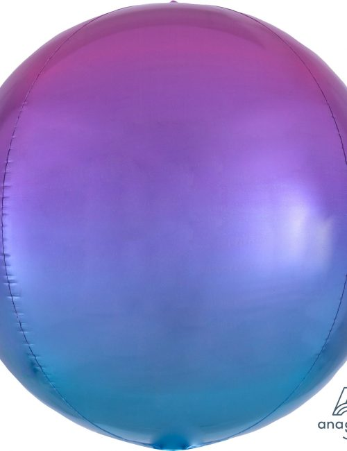 """Orbz Foil Balloon 15"""" x 16"""" Ombre Pink and Blue"""