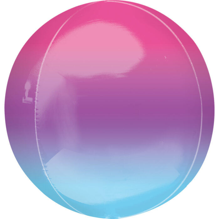 """Orbz Foil Balloon 15"""" x 16"""" Ombre Purple and Blue"""