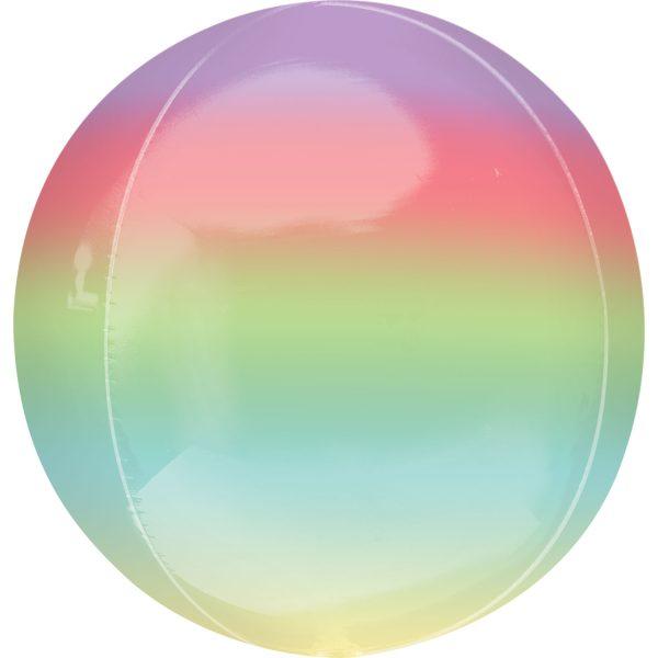 """Orbz Foil Balloon 15"""" x 16"""" Ombre Rainbow"""